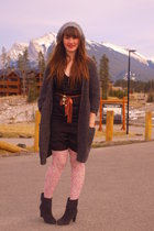winners sweater - modcloth dress - H&M tights - Value Village boots