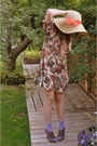 Mama-stone-vintage-dress-beige-claires-hat-brown-peep-toe-heels-costa-blanca