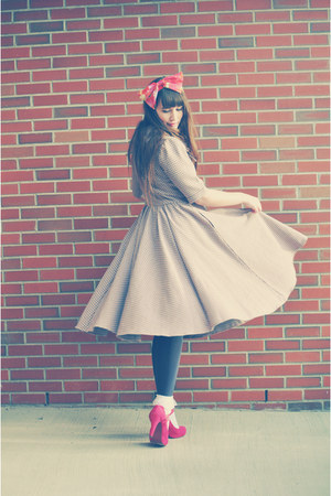 mary janes OASAP shoes - bow dress eShakti dress - bow headband Claires hat