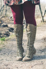 Charcoal-gray-thrifted-vintage-boots-maroon-mama-stone-vintage-dress