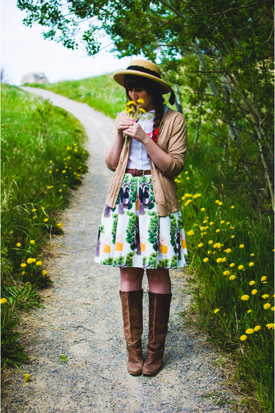green Chicwish skirt - brown Value Village boots - nude sunhat Value Village hat