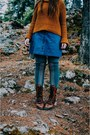Dark-brown-lace-up-boots-western-shop-boots-burnt-orange-free-people-sweater