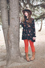 Camel-topshop-hat-brown-brown-boots-dna-footwear-boots-black-oasap-dress