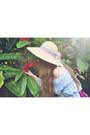 Beige-flower-sunhat-vintage-hat-maroon-hula-skirt-vintage-skirt