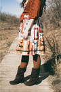 Dark-brown-boots-dsw-boots-light-orange-oasap-dress