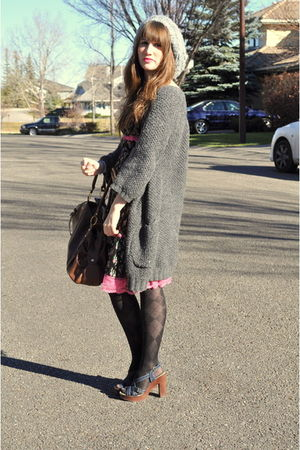 gray H&amp;M hat - gray winners sweater - pink thrifted dress