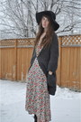 Value-village-thrifted-dress-hat-floppy-hat-jessica-simpson-hat-sweater-winn