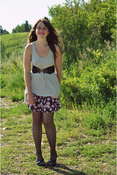 gray Forever 21 dress - purple winners skirt - brown the bay gift tights - blue 