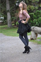 silver the bay tights - black thrifted shoes - purple le chateau shirt - black F