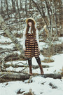 Dark-brown-lace-up-boots-boots-boots-orange-thrifted-dress-tan-thrifted-hat