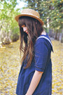Navy-oasap-blouse-dark-brown-boots-dna-footwear-boots-ivory-romwe-tights