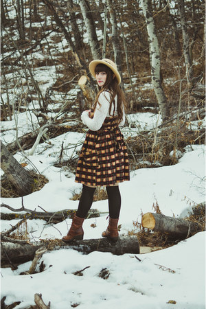 orange thrifted dress - dark brown lace up boots boots boots - tan thrifted hat