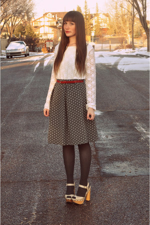 white Aldo wedges - gray polka dot skirt joe fresh style skirt