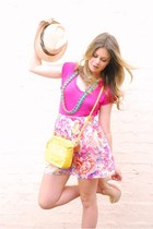 hot pink acne shirt - yellow belle bijoux bag