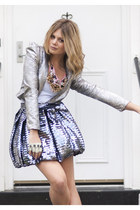 silver asos blazer - silver asos skirt - necklace Yamila Guedez accessories