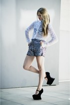 black suede and studs Jeffr wedges - charcoal gray sequin karl shorts