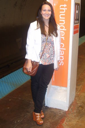white Urban Outfitters blazer - orange Forever 21 shirt - black J Crew jeans - b