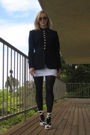 Ralph Lauren jacket - American Apparel skirt - DKNY stockings - banana republic