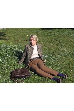 brown Max Mara jacket - beige bohmy mothers shirt - beige Zara pants - brown pat