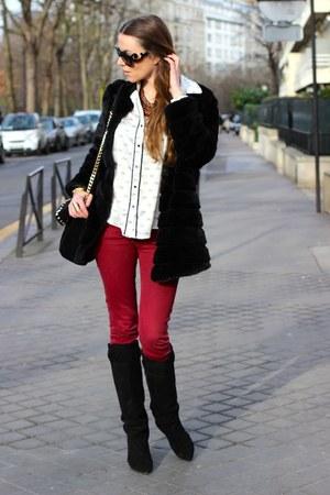 Isabel Marant boots - SANDRO jeans - Zara shirt - Prada glasses