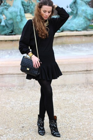 Isabel Marant boots - Chanel bag - Zara skirt