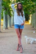 Maje sweater - Diesel shorts - Isabel Marant heels