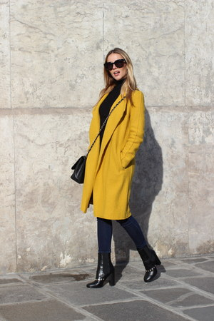 Chanel boots - yellow Zara coat - black Chanel bag - Celine glasses