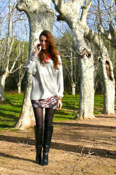 Zara boots - Isabel Marant sweater - brandy melville skirt