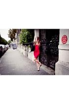 herve leger dress - Chanel jacket - Christian Louboutin heels