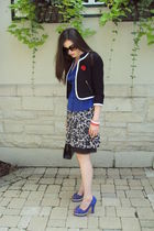 black H&M blazer - blue H&M blouse - white DKNY dress - blue Irregular Choice sh