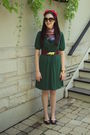 Green-target-dress-black-target-shoes-vintage-gift-from-grandma-scarf-red-