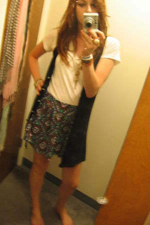 blue Forever 21 skirt - white Forever 21 shirt - black Forever 21 vest