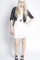 ivory eyelet whitecrowonline dress - black leather vintage from Ebay jacket