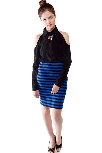 Blue Black Skirt