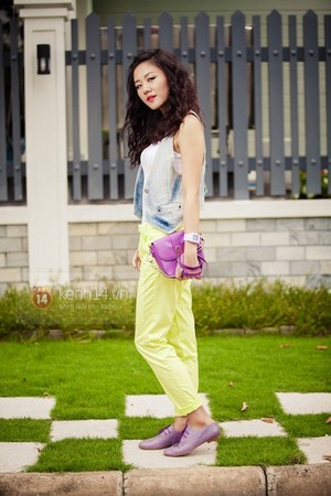 sky blue jacket - amethyst bag - chartreuse pants - white bodysuit