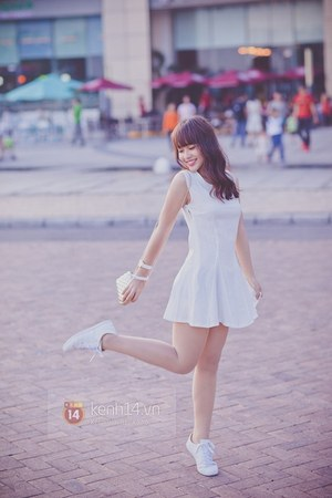 white dress - ivory bag - white sneakers