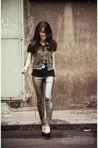 gray clogs - heather gray jacket - silver tights - dark gray blouse