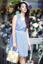 white and blue dress - white and yellow bag