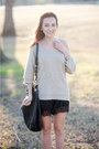 Dark-khaki-f21-sweater-black-dolce-vita-boots-black-lace-silk-gojane-shorts