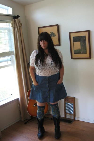 black vintage boots - teal Sweet Marcel socks - sky blue Forever 21 skirt - whit