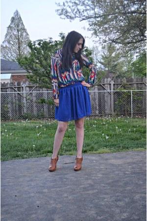 navy chiffon chicnova shirt - leather Bamboo boots - navy chiffon OASAP skirt