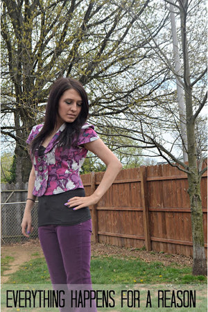 black New York & Company top - deep purple Unionbay pants