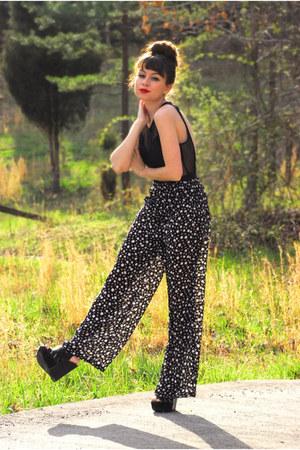 black sheer floral vintage pants - black mesh bustier vintage bodysuit