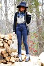 Navy-vintage-cardigan-navy-vintage-scarf-black-gap-jeans-black-farylrobin-
