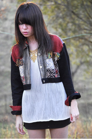 off white vintage blouse - brick red ethnic vintage jacket