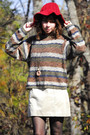 Brown-vintage-sweater-tan-90s-gap-dress-white-jeffrey-campbell-shoes-red-v