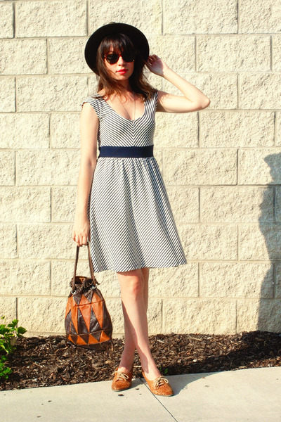 brown cut-out loafers vintage shoes - navy french striped poetrie dress - dark b