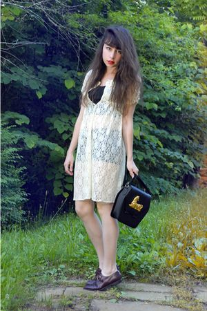 white vintage dress - black vintage top - black vintage shorts - brown vintage s