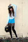 White-vintage-sweater-blue-vintage-shorts-black-house-of-holland-tights-bl