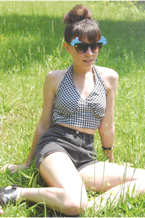 denim high rise vintage shorts - diy vintage sunglasses - gingham halter vintage